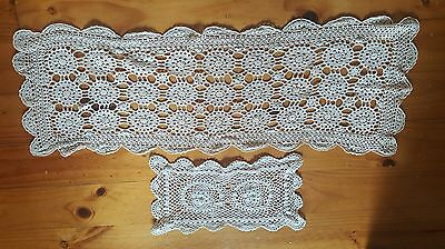 2 pieces of Crochet Doilies- Oblong Runner and Smaller Centrepiece