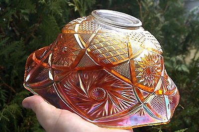 """RARE 1907-1930 US Glass """"Whirling Star"""" Marigold Carnival Glass 11"""" Punch Bowl"""