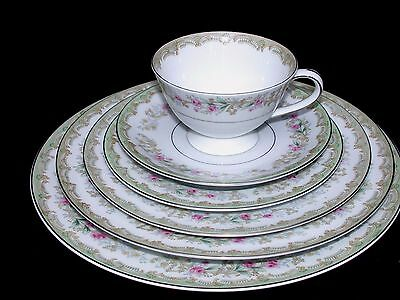 6 pc Place setting Meito Kenwood Fine China Silver Trim Pink Roses Japan