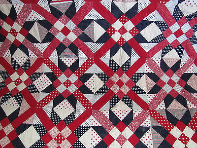 Rare Mexican Star Quilt Red White & Indigo Blue Ditsy Prints Exquisite Quilt