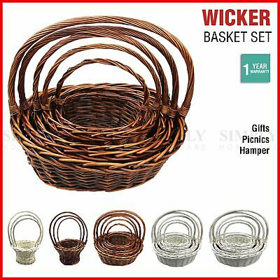 Wicker Basket Set Cane Hamper Picnic Handle Small Large White Brown Vintage Gift