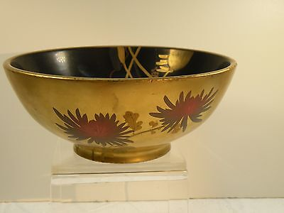 "Opr102 Japanese Antique Lacquer Hand Painted Bowl 3"" High, 7"" Wide"
