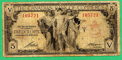 1935 5 Dollar Bill The Canadian Bank Of Commerce Five Dollars Note
