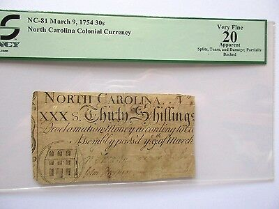 Colonial Currency N Carolina NC-81, 30s, 1754, PCGS VF-20 apparent