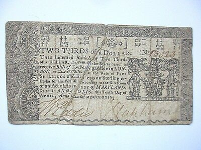 Colonial Currency Maryland, 1774, $ 2/3, Fine