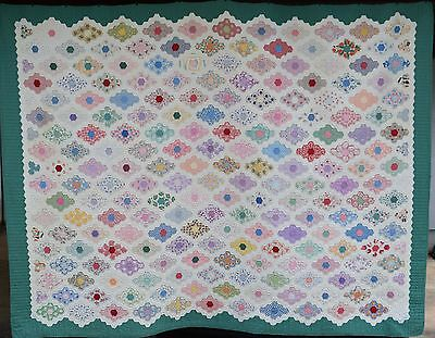 "MASSIVE 91"" x 72"" Vintage 30's Field of Diamonds Flower Garden Quilt"