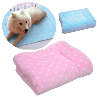 Warm Pet Cat Dog Puppy Flannel Blanket Comfortable Bed Cushion Cage Pads Dot Mat
