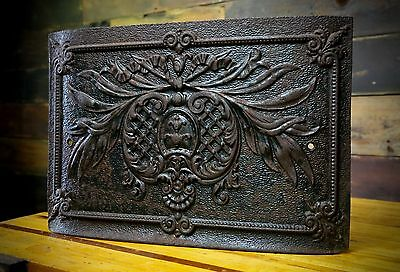 Antique Cast Iron Stove Furnace Door Flower Ornate Decorative Wall Decor Vintage