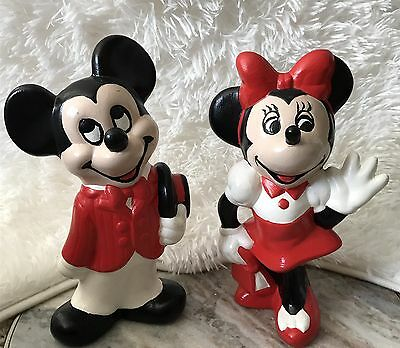Vintage Ceramic Mickey and Minnie Mouse Figurines Retro Hand Painted  RARE FIND!