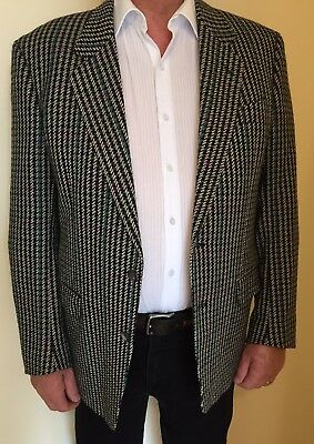 Italian Black White Purple Green Plaid Check Wool Blazer Jacket 44 Winter Mens