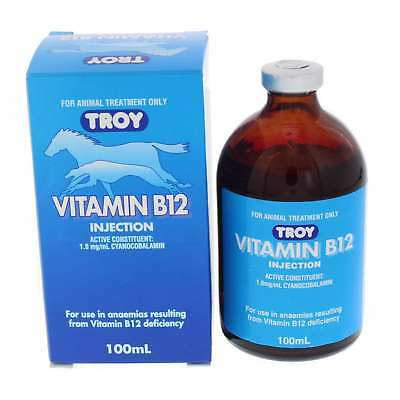 Vitamin B12 Injection Troy Horse Equine Health 100ml Anaemias B12 Deficiences