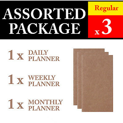 3 x Regular Assorted Package Refills Vintage Travel Journal Notebook Diary
