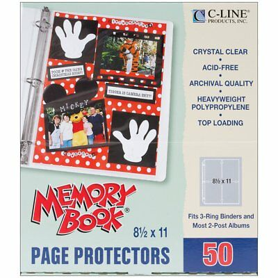 C-Line Memory Book 11 x 8.5 Inch Scrapbook Page Protectors, Heavyweight Poly, 50