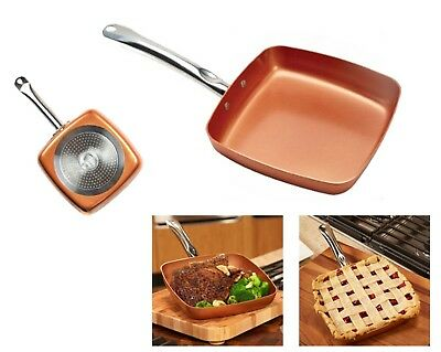 Copper Chef Kitchen Cooking Frying Non Stick (9.5-inch) Square Nonstick Fry Pan