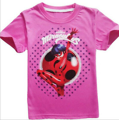 Summer Miraculous Ladybug T shirts Girls Casual Cartoon T shirts Tops Clothes