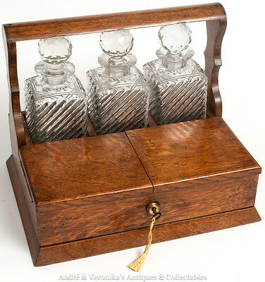 Antique Oak 3 Decanter Tantalus w. Smokers Cabinet Box Games Cards Working Lock