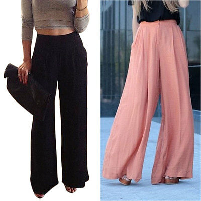 Women Solid Trousers Palazzo Wide Leg High Waisted Long Loose Pants Plus Size