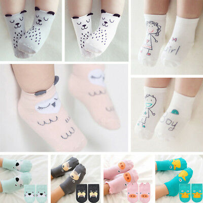 Infant Baby Girls Toddler Kids Cotton Cartoon Cute Ankle Socks Anti-Slip 0-4 Y