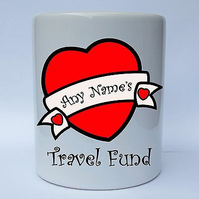Travel fund money box gift with glass front piggy bank for Travel fund piggy bank