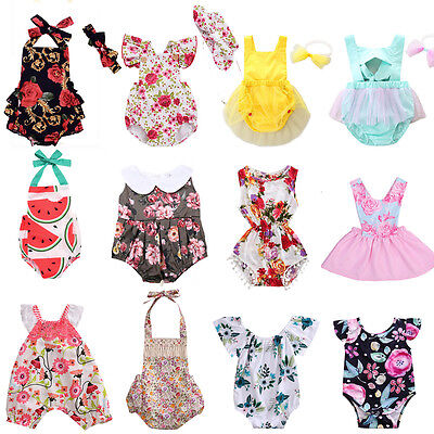 UK Newborn Baby Girls Floral Romper Bodysuit Jumpsuit Outfits Sunsuit Clothes