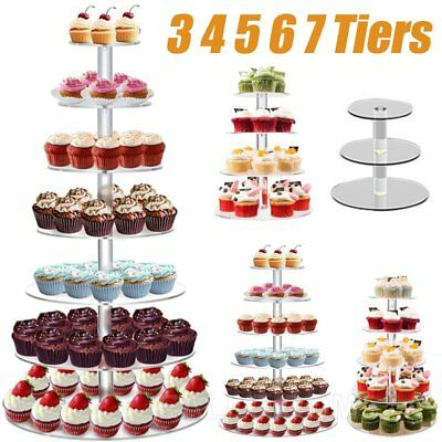 3 4 5 6 7 Tier Acrylic Round Cupcake Cake Stand Party Birthday Wedding Event NGS