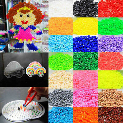 1000PCS DIY 5mm Perler Fusion Fuse Refill Beads Solid Children Craft Kids Toy