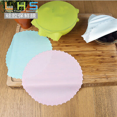 Silicone Wrap Reusable Cling Film Bowl Seal Covers Food Fresh Lid Cup Holder Mat