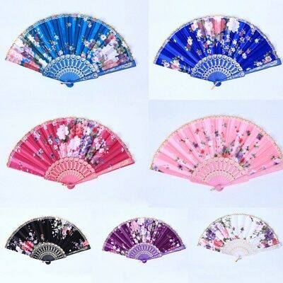 Chinese Folding Silk Fabric Hand Fan Wedding Christmas Party Fan With Flower