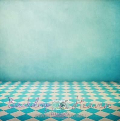 NEW High Quality Photography Backdrop Aqua Checkered Floor & Wall