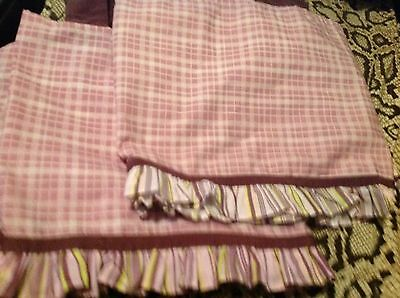 (2) Cocalo Sugar Plum Valances Purple Plaid Stripe Baby Girl Window Nursery