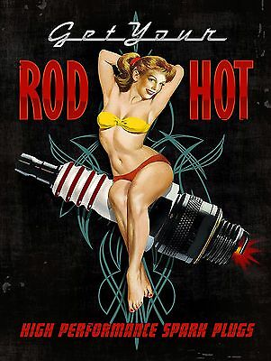 Get Your Rod Hot Sign Man Cave Garage Shed Funny Gift workshop Mechanic