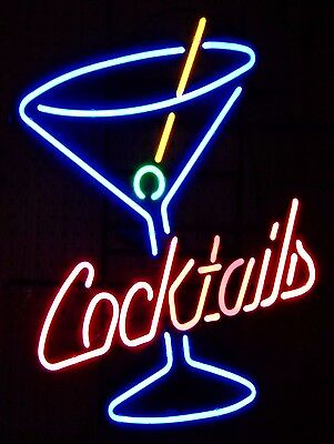Neon Cocktail Retro metal Aluminium Vintage Sign Bar Pub Club Man Cave