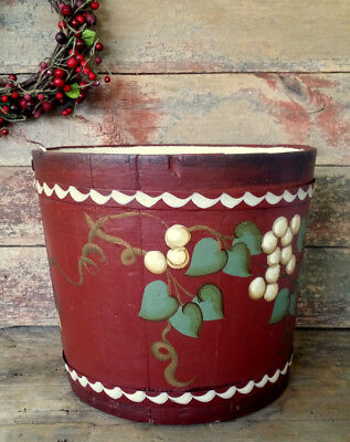 PRETTY Antique COUNTRY COTTAGE Old FARMHOUSE Signed Hand Painted Wooden Bucket