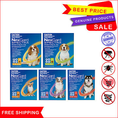 NEXGARD SPECTRA Flea Tick Heartworm Worm prevention for Dogs 3 Chews All sizes