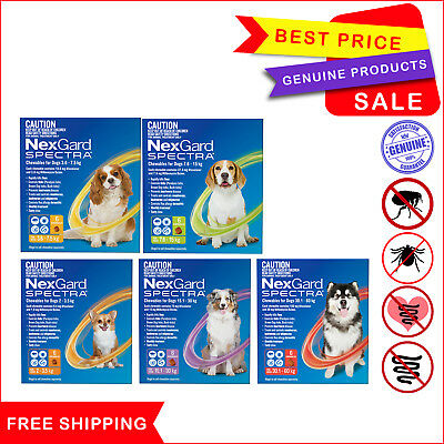 NEXGARD SPECTRA Flea Tick Heartworm Worm prevention for Dogs 6 Chews All sizes