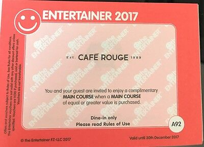 Cafe Rouge BOGOF Voucher Dubai Entertainer 2017