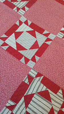 LOOK!  RARE Vintage 1920's Antique QUILT-  PICOTAGE Fish Print - EARLY FABRICS