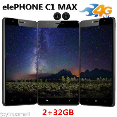 "6.0"" Elephone C1 Max Android 7.0 Téléphone 4Core 2+32GB 13MP 4G Smartphone 1080P"
