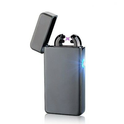 Black Double Arc Lighter USB Electronic Rechargeable Battery Cigarette Lighter