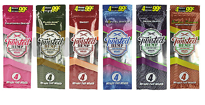18x Packs ( Twisted Hemp Wraps ) 72 Wraps Total - 6 Different Flavors Variety