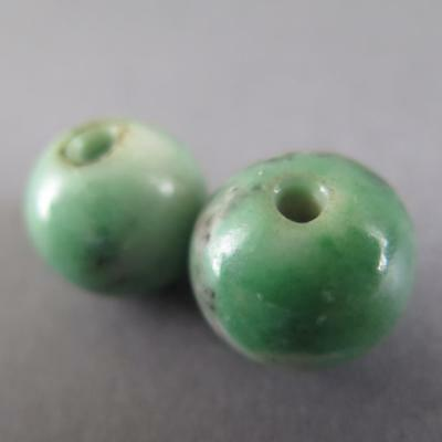 Fine Antique Chinese Pair Of Green Jade Beads From Court Necklace