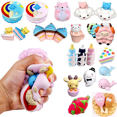 UK Stock Cute Jumbo Squeeze Stress Stretch Squishy Scented Slow Rising Toy Lot
