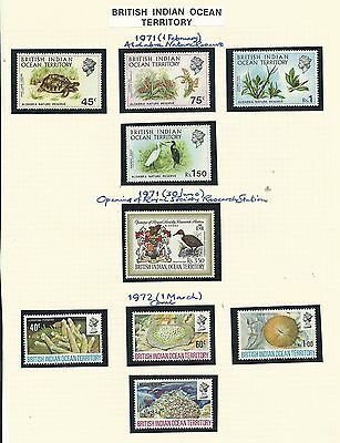 B.I.O.T.1971-72 Selection of 3 sets, SG36-44, mnh, Cat.£52++.