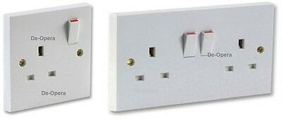 13 Amp Single/Double Gang Sockets Plug Outlet Switched Main Wall Socket White