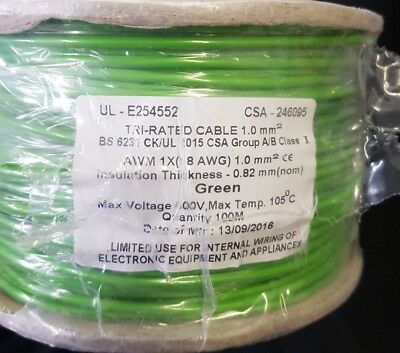 Tri Rated Cable 1.0mm2 Insulation Thickness 0.82mm Green 100m