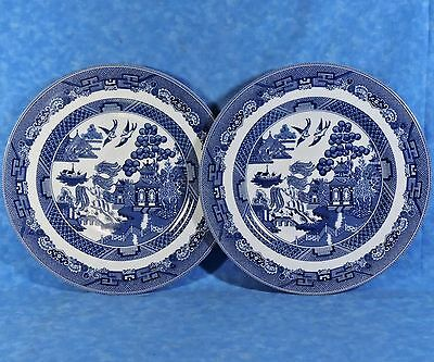 """2 Johnson Brothers Blue WILLOW 10.75"""" XL Dinner Plates-1883 England Marks- Minty"""