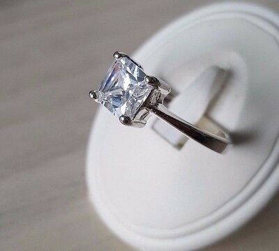 Good quality 925 sterling silver square cubic zirconia ring