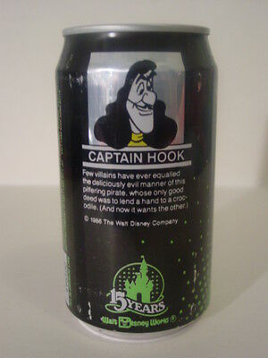 1986 12 oz. MINUTE MAID CAN 15 YEARS DISNEY WORLD ( CAPTAIN HOOK ) BOT. OPENED