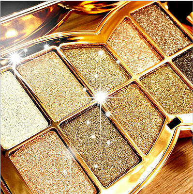 Glitter Eyeshadow Palette 10 Piece Eye Shadow Gold Compact Case Mirror Set