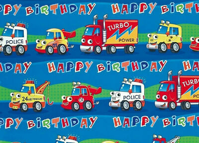 2 X BOYS BIRTHDAY WRAPPING PAPER GIFT WRAP POLICE CARS FREE 1ST CLASS DELIVERY
